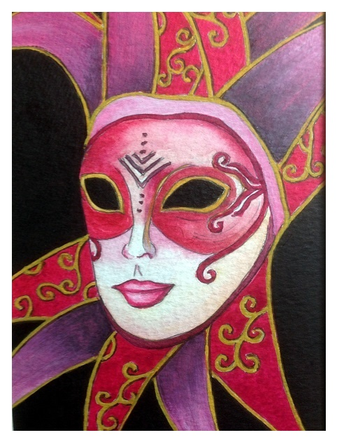 The pink jester in watercolour