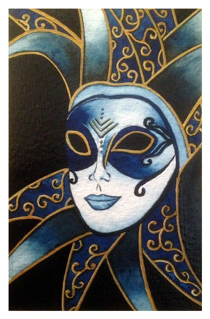 The Prussian Blue Jester watercolour
