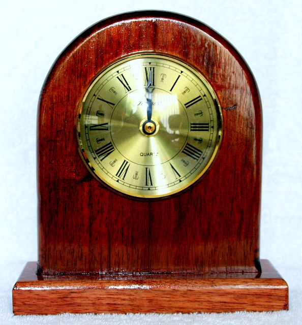 hand made Mantle clock made from Walnut, Brassed rim and face 9cm insert quartz clock with roman numerals