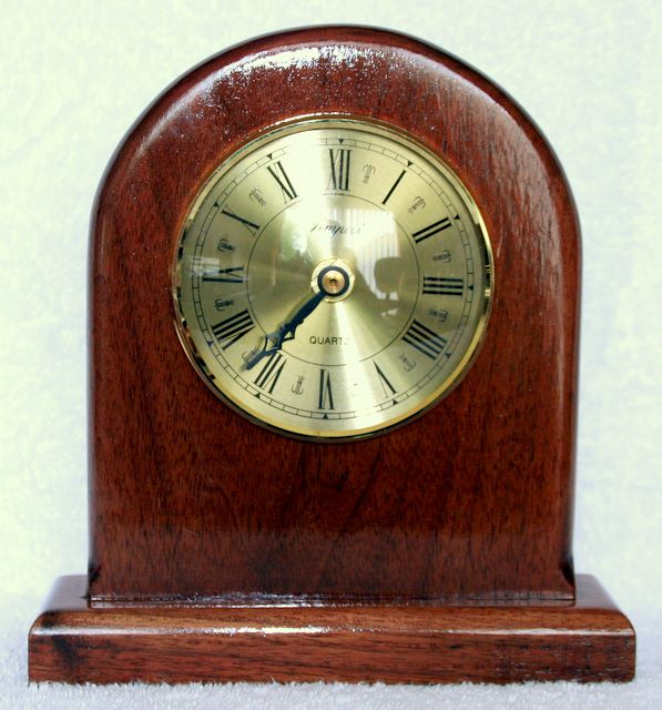 hand made Mantle clock made from Walnut, Biased rim and face 9cm insert quartz clock with roman numerals