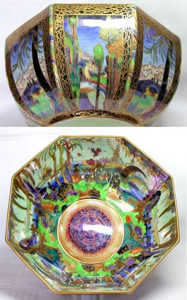 Arts and Crafts - Wedgwood Fairyland Lustre Bowl depicting the Castle on the Road and the Fairy in a Cage by Daisy Makeig-Jones
