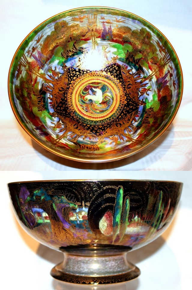 Wedgwood Fairyland Lustre - Poplar Trees & Woodland Bridge Pedestal Bowl