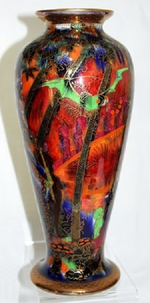 Wedgwood Fairyland Lustre Vase depicting Imps on a Bridge