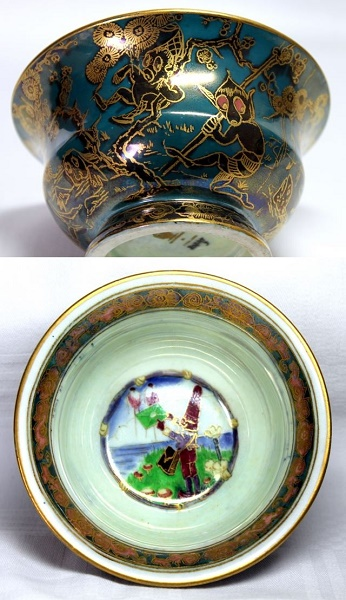 Arts and Crafts - Wedgwood Fairyland Lustre Bowl depicting Firbolgs and a Pixie holding a Letter by Daisy Makeig-Jones