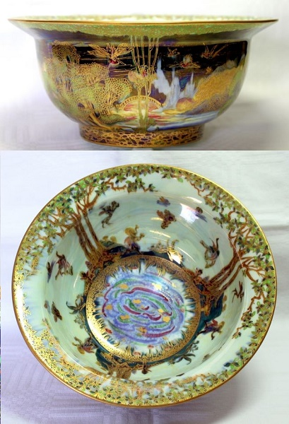 Wedgwood Fairyland Lustre Bowl - Woodland Bridge II and Woodland Elves Pattern