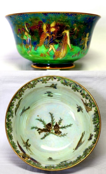 Wedgwood Fairyland Lustre Bowl - Leepfrogging Elves at Night