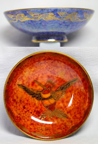 Blue and Orange Wedgwood Lustre Humming Bird Pin Dish