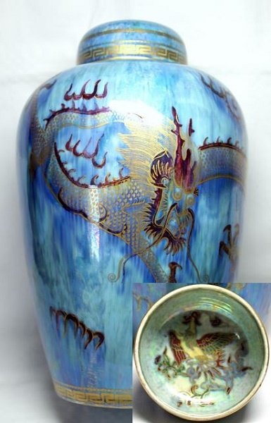 Ornate Pale Blue Wedgwood Dragon Lustre Malfrey Pot with Lid