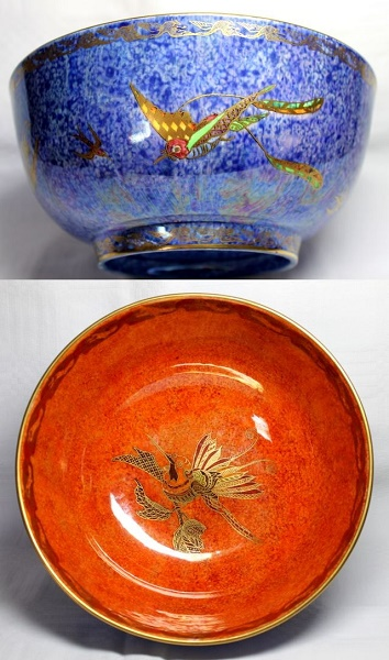 Arts and Crafts - Wedgwood Blue Humming Bird Bowl by Daisy Makeig-Jones