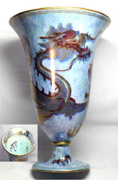 Arts and Crafts - Wedgwood Dragon Lustre Footed Vase  by Daisy Makeig-Jones