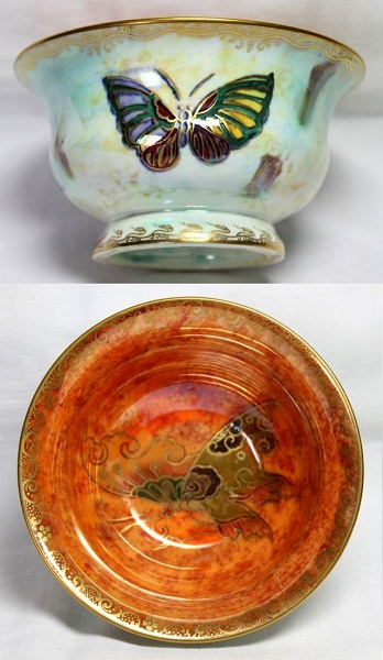 Arts and Crafts - Wedgwood Pearl Lustre Butterfly Bowl  by Daisy Makeig-Jones