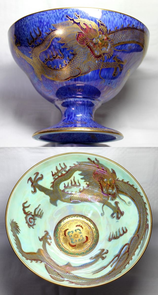 Large Highly Decorated Blue DragonWedgwood Lustre Melba cup