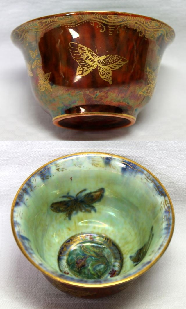 Wedgwood Bronze and Mother of Pearl Lustre Butterfly Bowl