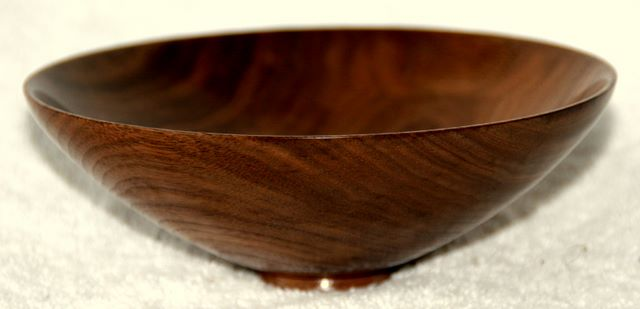 wood turned V shaped walnut bowl