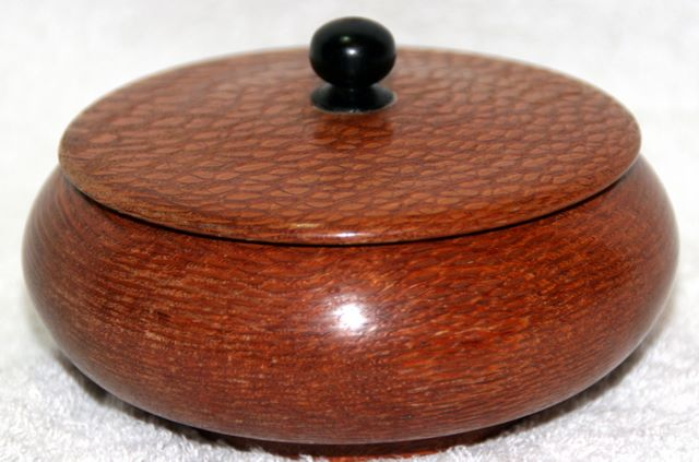 Turned Lidded Snakewood Ring Box